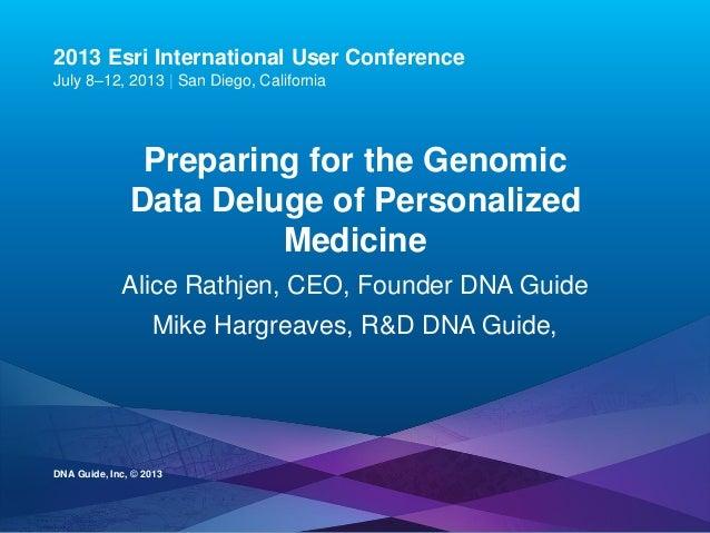 Esri UC2013 . 2013 Esri International User Conference July 8–12, 2013 | San Diego, California Preparing for the Genomic Da...