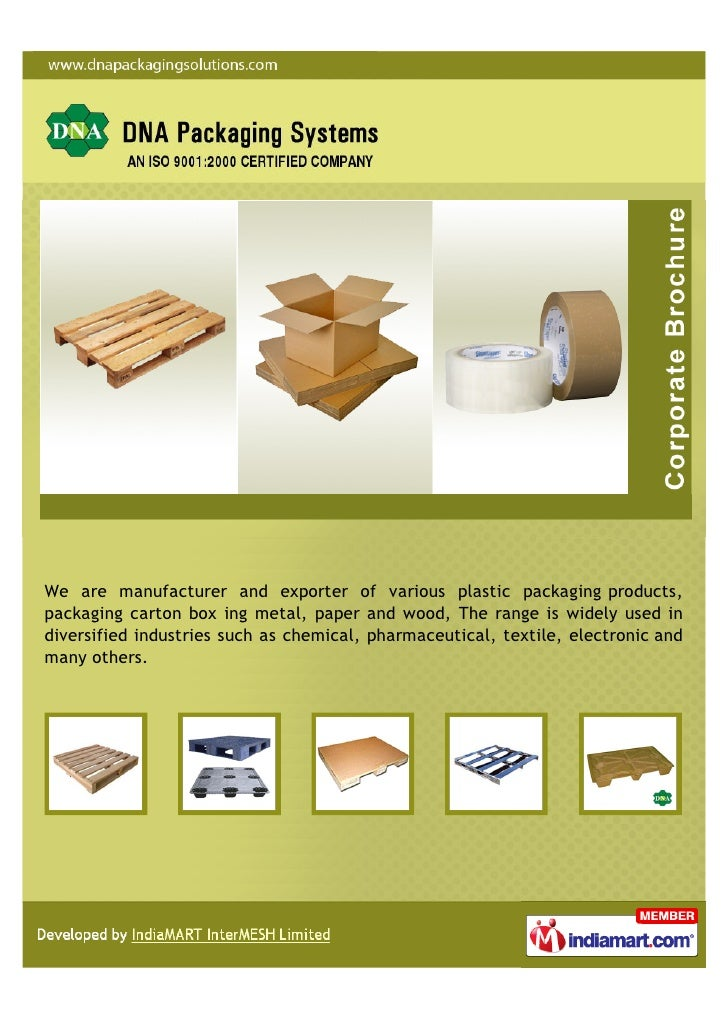 We are manufacturer and exporter of various plastic packaging products,packaging carton box ing metal, paper and wood, The...