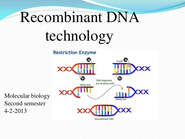 Recombinant DNA technology Molecular biology Second semester 4-2-2013