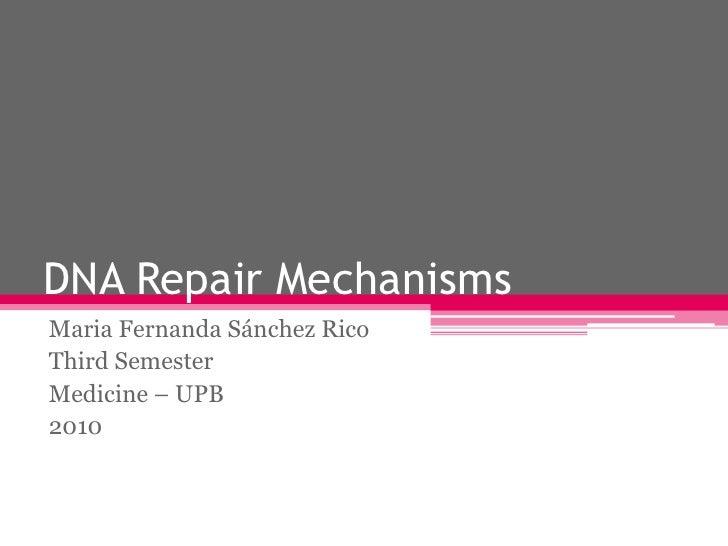 DNA Repair Mechanisms<br />Maria Fernanda Sánchez Rico<br />Third Semester<br />Medicine – UPB<br />2010<br />