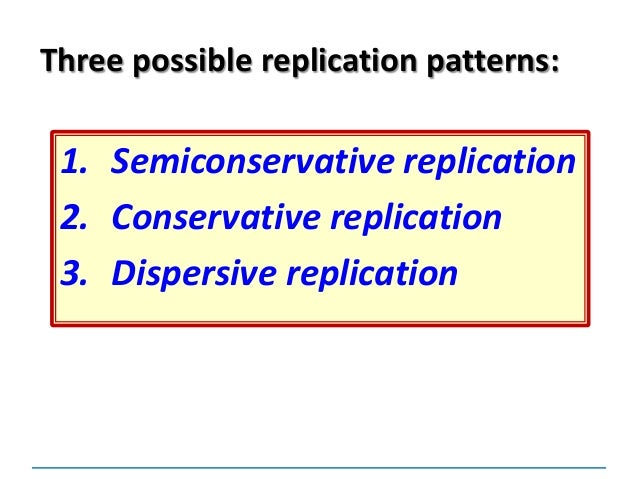 Dnareplication dispersive replication three possible replication patterns 13 semiconservative replication conservative replication dispersive replication malvernweather Images