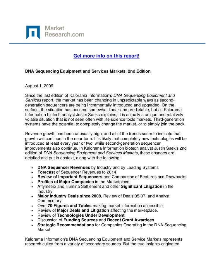 Get more info on this report!DNA Sequencing Equipment and Services Markets, 2nd EditionAugust...