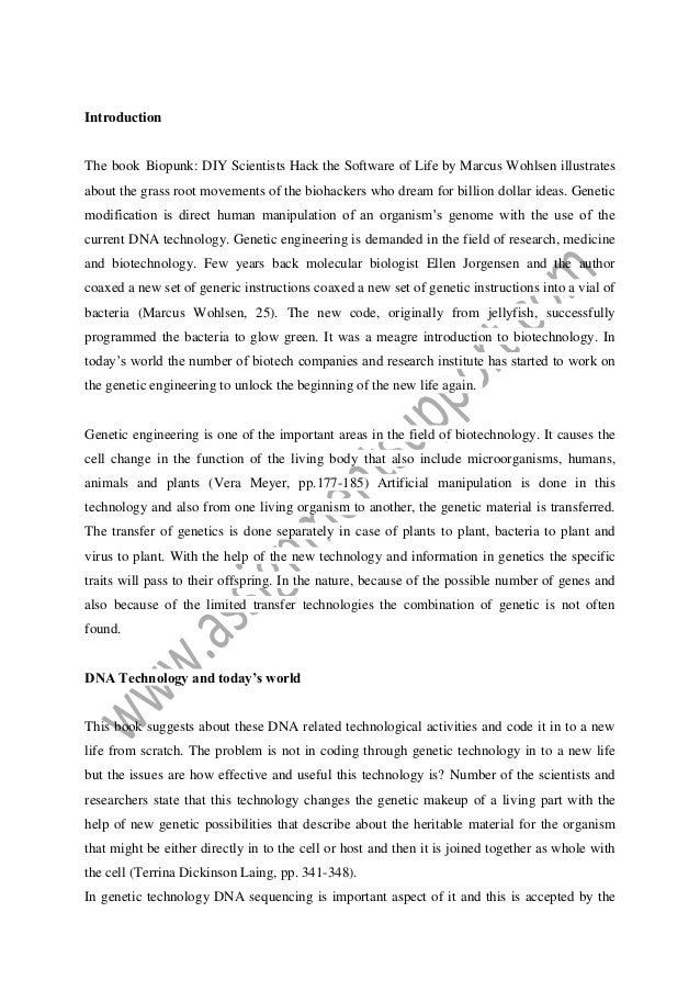 Science Fair Essay Introduction The Book Biopunk Diy Scientists Hack The Software Of Life By  Marcus Wohlsen Illustrates Peoples Because Dna  Essay About Business also How To Write A Business Essay Dna Technology Essay Sample From Assignmentsupportcom Essay Writing  Argumentative Essay Thesis Statement Examples