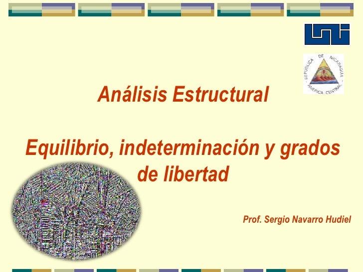 Análisis Estructural<br />Equilibrio, indeterminación y grados de libertad<br />Prof. Sergio Navarro Hudiel<br />