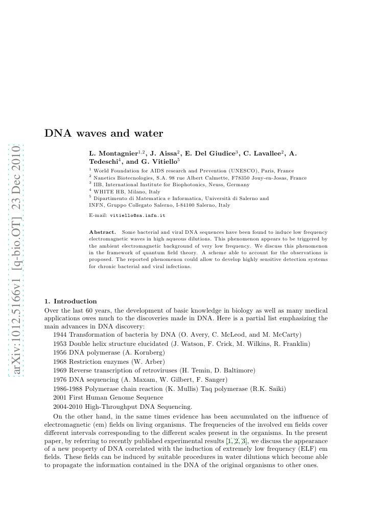 DNA waves and waterarXiv:1012.5166v1 [q-bio.OT] 23 Dec 2010                                                          L. Mo...