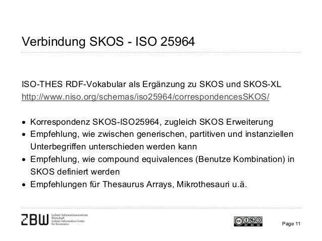 Verbindung SKOS - ISO 25964 ISO-THES RDF-Vokabular als Ergänzung zu SKOS und SKOS-XL http://www.niso.org/schemas/iso25964/...