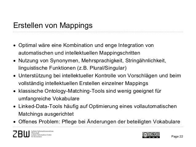 Erstellen von Mappings • Optimal wäre eine Kombination und enge Integration von automatischen und intellektuellen Mappings...