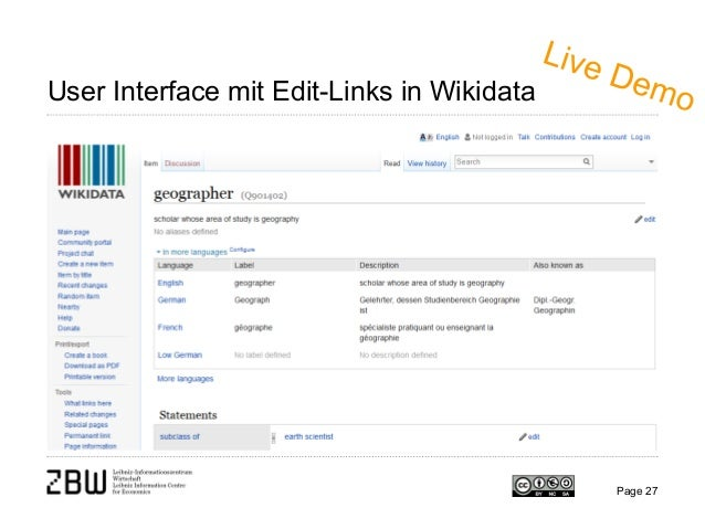 User Interface mit Edit-Links in Wikidata Page 27
