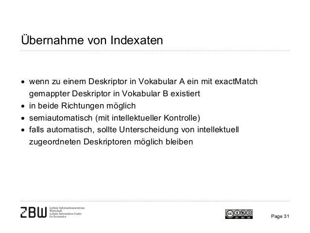 Übernahme von Indexaten • wenn zu einem Deskriptor in Vokabular A ein mit exactMatch gemappter Deskriptor in Vokabular B e...