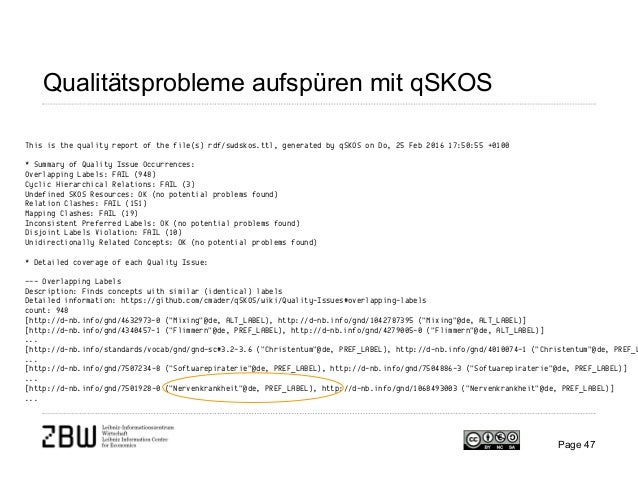 Qualitätsprobleme aufspüren mit qSKOS This is the quality report of the file(s) rdf/swdskos.ttl, generated by qSKOS on Do,...