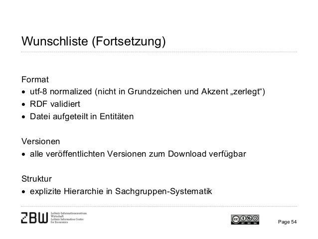 """Wunschliste (Fortsetzung) Format • utf-8 normalized (nicht in Grundzeichen und Akzent """"zerlegt"""") • RDF validiert • Datei a..."""