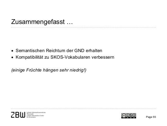 Zusammengefasst … • Semantischen Reichtum der GND erhalten • Kompatibilität zu SKOS-Vokabularen verbessern (einige Früchte...