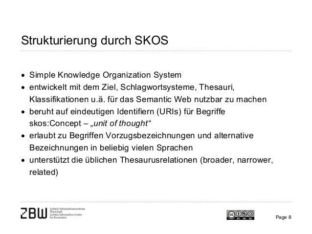 Page 8 Strukturierung durch SKOS • Simple Knowledge Organization System • entwickelt mit dem Ziel, Schlagwortsysteme, Thes...