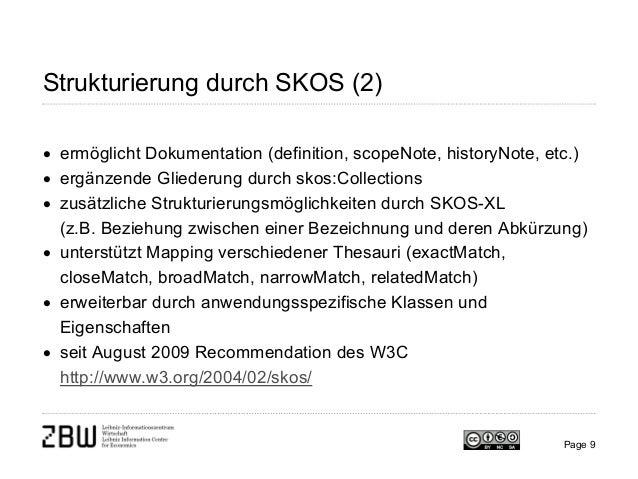 Page 9 Strukturierung durch SKOS (2) • ermöglicht Dokumentation (definition, scopeNote, historyNote, etc.) • ergänzende Gl...