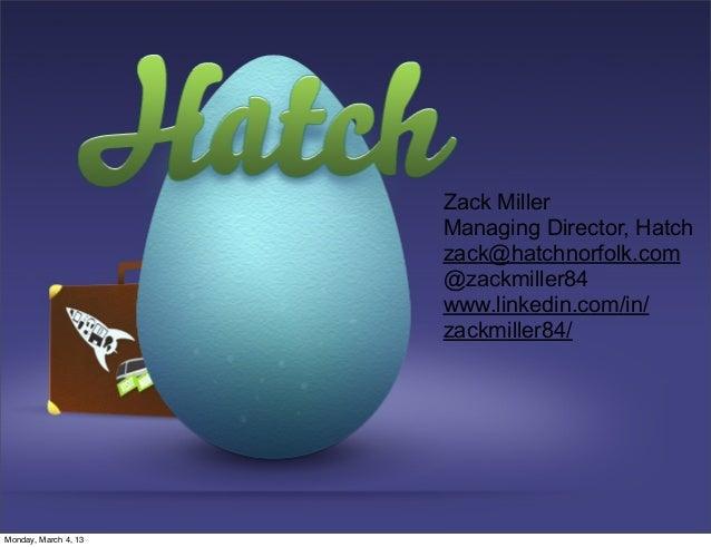 Zack Miller                      Managing Director, Hatch                      zack@hatchnorfolk.com                      ...