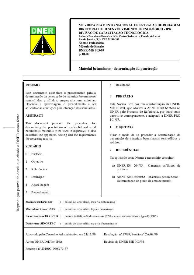 MT - DEPARTAMENTO NACIONAL DE ESTRADAS DE RODAGEM DIRETORIA DE DESENVOLVIMENTO TECNOLÓGICO - IPR DIVISÃO DE CAPACITAÇÃO TE...
