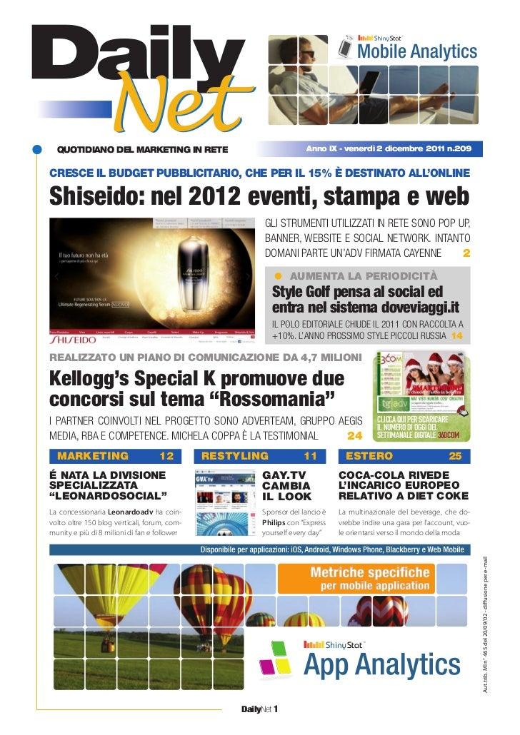 quotidiano del marketing in rete                                   anno iX - venerdì 2 dicembre 2011 n.209cresce il budget...