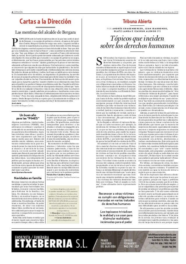 """4 OPINIÓN Noticias de Gipuzkoa Sábado, 29 de diciembre de 2012 Un buen año para las """"PIMES"""" Algunas periodistas, intelectu..."""