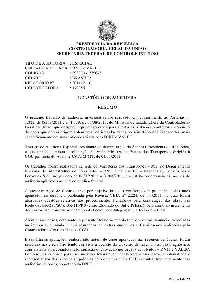 PRESIDÊNCIA DA REPÚBLICA                      CONTROLADORIA-GERAL DA UNIÃO                  SECRETARIA FEDERAL DE CONTROLE...