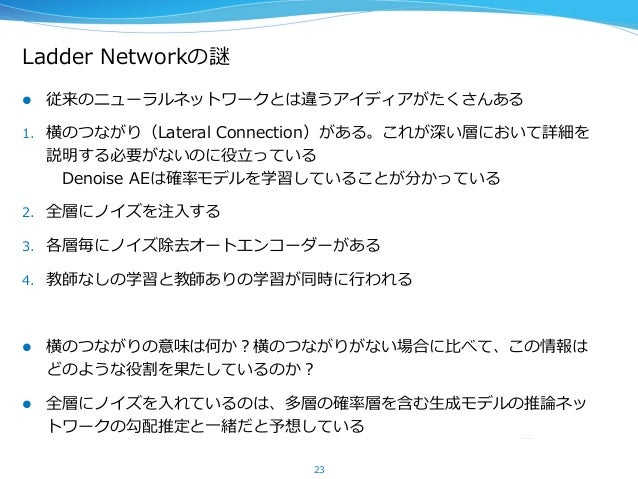 Ladder Networkの謎 l 従来のニューラルネットワークとは違うアイディアがたくさんある 1. 横のつながり(Lateral Connection)がある。これが深い層において詳細を 説明する必要がないのに役⽴立立っている ...