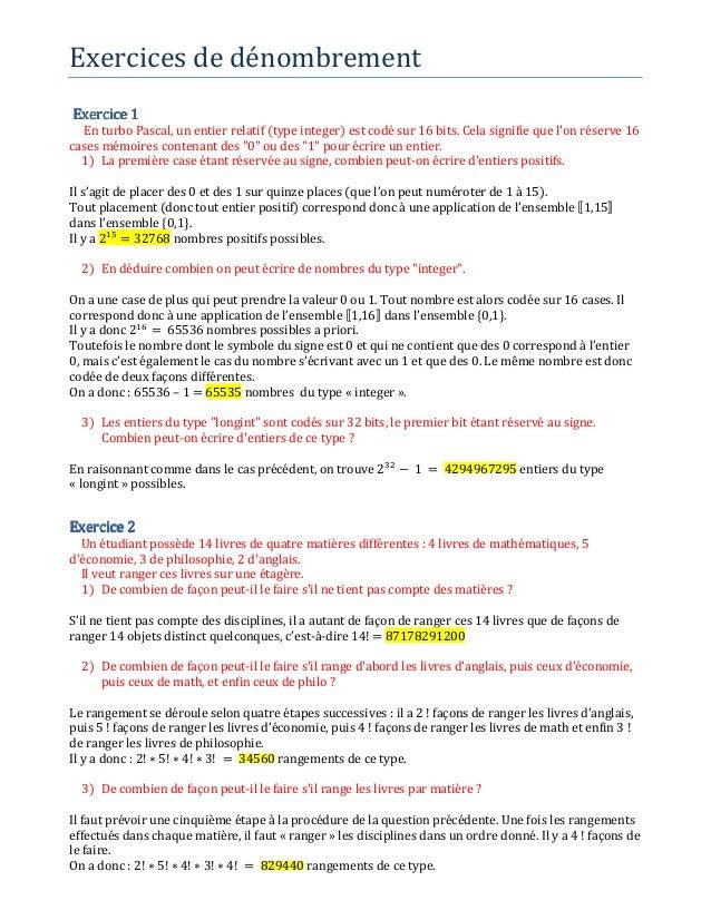Exercices de dénombrement Exercice 1Exercice 1Exercice 1Exercice 1 En turbo Pascal, un entier relatif (type integer) est c...