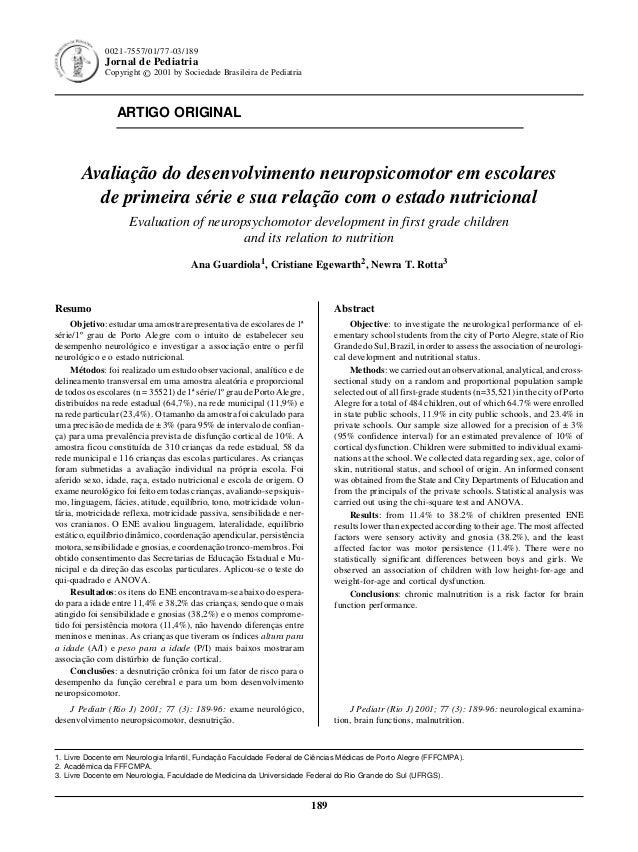 Jornal de Pediatria - Vol. 77, Nº3 , 2001 189 ARTIGO ORIGINAL 189 0021-7557/01/77-03/189 Jornal de Pediatria Copyright © 2...