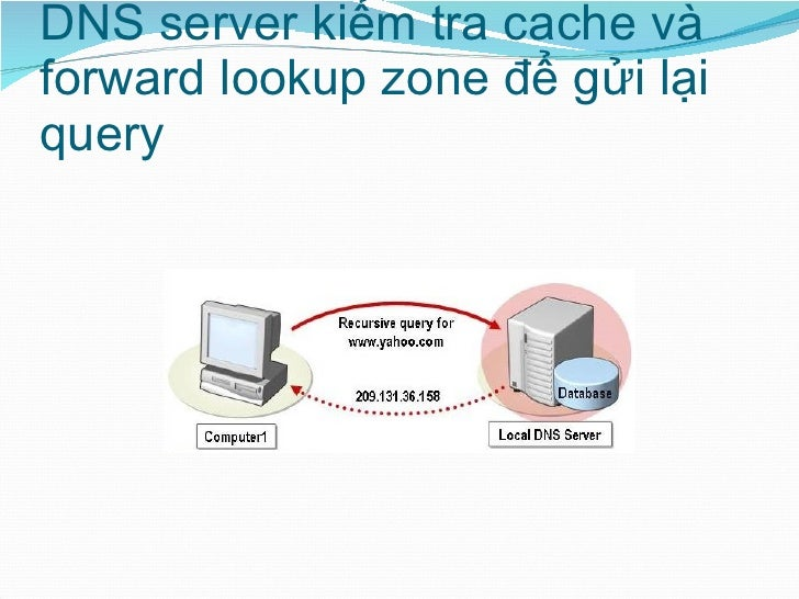DNS server kiểm tra cache và forward lookup zone để gửi lại query