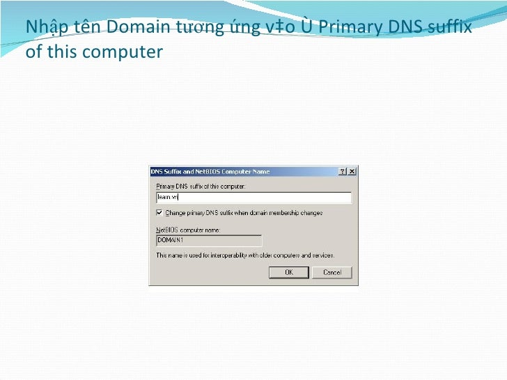 Nhập tên Domain tương ứng vào ô Primary DNS suffix of this computer