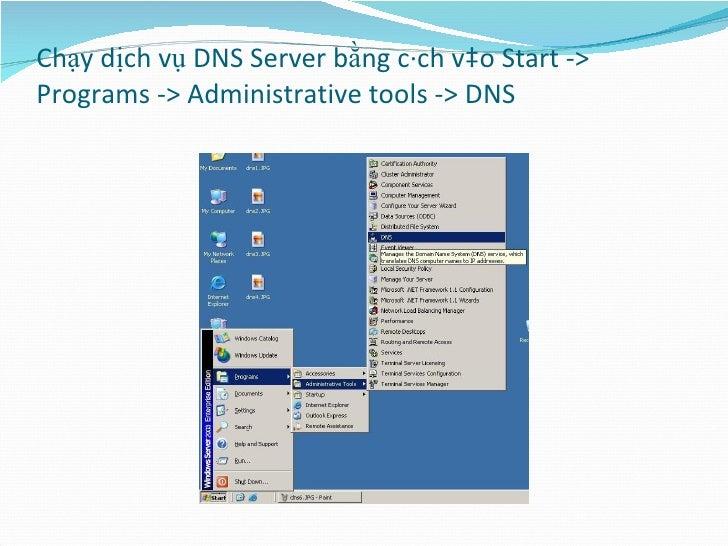 Chạy dịch vụ DNS Server bằng cách vào Start -> Programs -> Administrative tools -> DNS