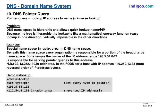 © Peter R. Egli 2015 15/17 Rev. 3.60 DNS - Domain Name System indigoo.com 10. DNS Pointer Query Pointer query = Lookup IP ...