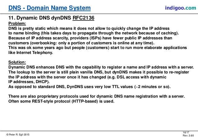 © Peter R. Egli 2015 16/17 Rev. 3.60 DNS - Domain Name System indigoo.com 11. Dynamic DNS dynDNS RFC2136 Problem: DNS is p...