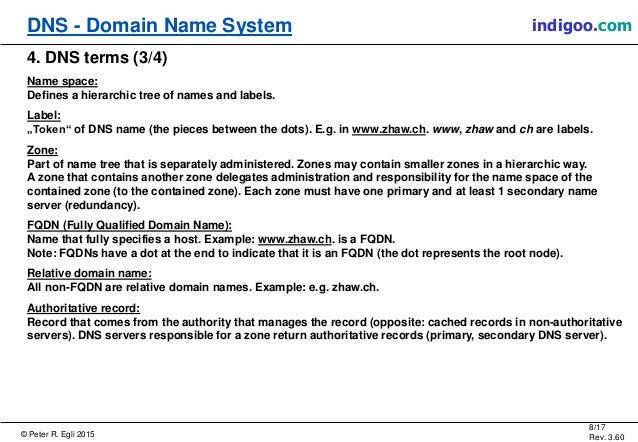 © Peter R. Egli 2015 8/17 Rev. 3.60 DNS - Domain Name System indigoo.com 4. DNS terms (3/4) Name space: Defines a hierarch...