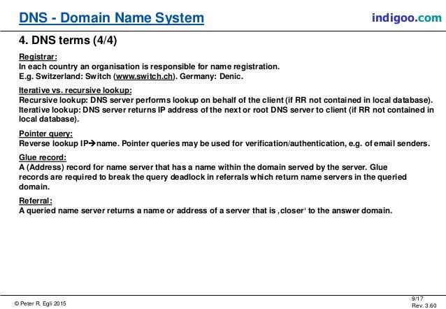 © Peter R. Egli 2015 9/17 Rev. 3.60 DNS - Domain Name System indigoo.com 4. DNS terms (4/4) Registrar: In each country an ...