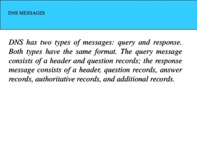 DNS MESSAGES DNS has two types of messages: query and response. Both types have the same format. The query message consist...