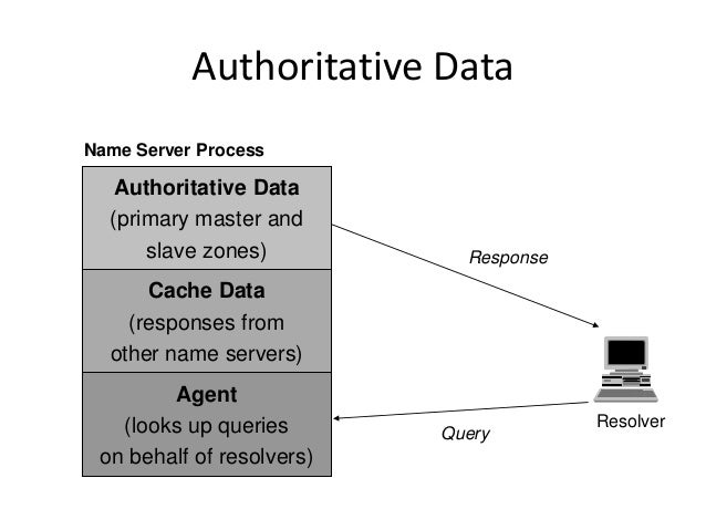 Authoritative Data Resolver Query Response Authoritative Data (primary master and slave zones) Agent (looks up queries on ...
