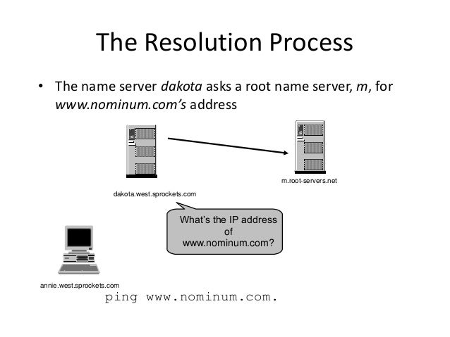 The Resolution Process • The name server dakota asks a root name server, m, for www.nominum.com's address ping www.nominum...