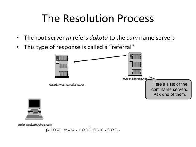 """The Resolution Process • The root server m refers dakota to the com name servers • This type of response is called a """"refe..."""