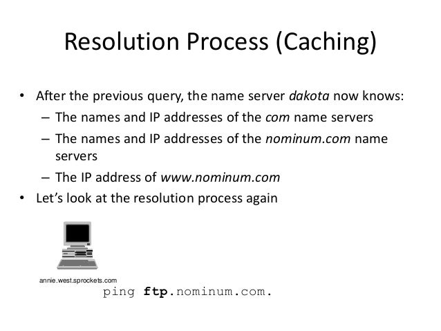 ping ftp.nominum.com. Resolution Process (Caching) • After the previous query, the name server dakota now knows: – The nam...