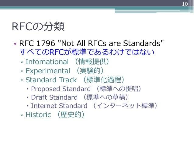 """10RFCの分類• RFC 1796 """"Not All RFCs are Standards""""   すべてのRFCが標準であるわけではない ▫ Infomational (情報提供) ▫ Experimental (実験的..."""