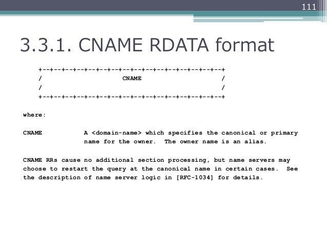 1113.3.1. CNAME RDATA format    +--+--+--+--+--+--+--+--+--+--+--+--+--+--+--+--+    /                     CNAME       ...
