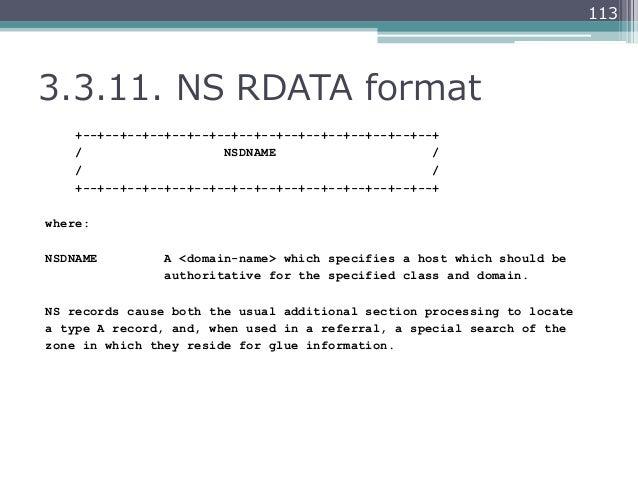 1133.3.11. NS RDATA format    +--+--+--+--+--+--+--+--+--+--+--+--+--+--+--+--+    /                   NSDNAME         ...