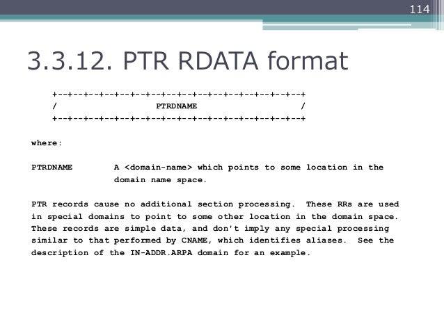 1143.3.12. PTR RDATA format    +--+--+--+--+--+--+--+--+--+--+--+--+--+--+--+--+    /                   PTRDNAME       ...