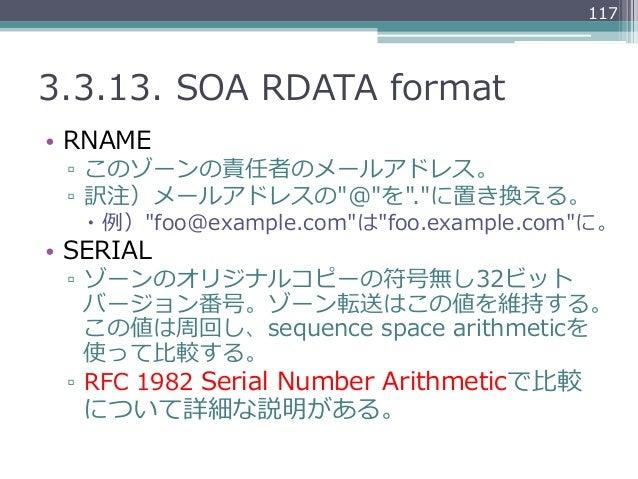 "1173.3.13. SOA RDATA format• RNAME ▫ このゾーンの責任者のメールアドレス。 ▫ 訳注)メールアドレスの""@""を"".""に置き換える。   – 例例)""foo@example.com""は""foo...."