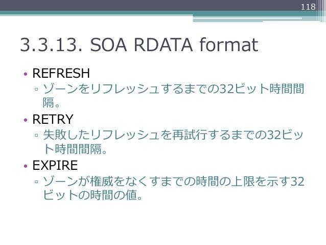 1183.3.13. SOA RDATA format• REFRESH ▫ ゾーンをリフレッシュするまでの32ビット時間間    隔。• RETRY ▫ 失敗したリフレッシュを再試⾏行行するまでの32ビッ    ト時間間隔。•...