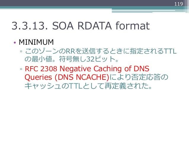 1193.3.13. SOA RDATA format• MINIMUM ▫ このゾーンのRRを送信するときに指定されるTTL    の最⼩小値。符号無し32ビット。 ▫ RFC 2308 Negative Caching ...