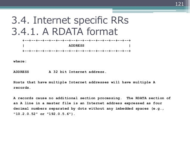 1213.4. Internet specific RRs3.4.1. A RDATA format    +--+--+--+--+--+--+--+--+--+--+--+--+--+--+--+--+              ...