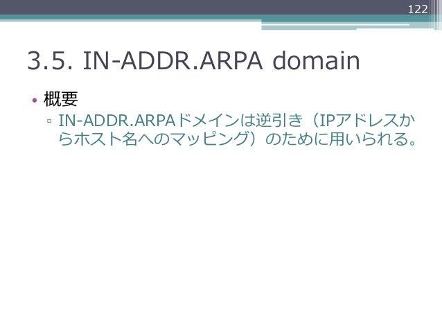 1223.5. IN-‐‑‒ADDR.ARPA domain• 概要 ▫ IN-‐‑‒ADDR.ARPAドメインは逆引き(IPアドレスか    らホスト名へのマッピング)のために⽤用いられる。
