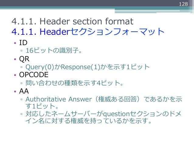 1284.1.1. Header section format4.1.1. Headerセクションフォーマット• ID  ▫ 16ビットの識識別⼦子。• QR  ▫ Query(0)かResponse(1)かを⽰示す1ビット•...