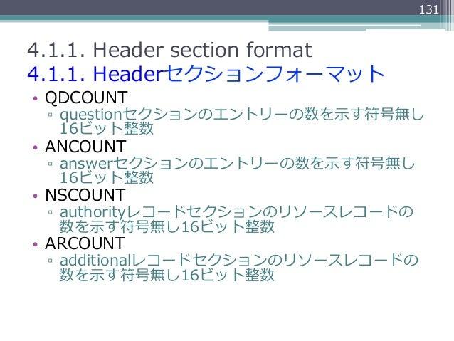 1314.1.1. Header section format4.1.1. Headerセクションフォーマット• QDCOUNT ▫ questionセクションのエントリーの数を⽰示す符号無し    16ビット整数• ANCOUN...