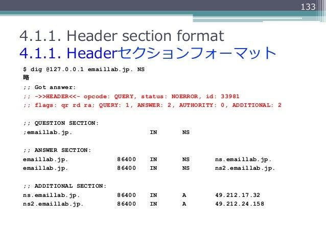 1334.1.1. Header section format4.1.1. Headerセクションフォーマット$ dig @127.0.0.1 emaillab.jp. NS略略;; Got answer:;; ->>HEADER<<-...